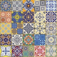 Azulejos tiles vector seamless pattern collection