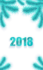 Christmas or New Year background vertical with tree branch cyan blue on white creative trend style for congratulation or invitation with Merry Christmas or New Year or for mobile telephone