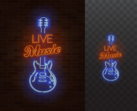 Live Music Neon Sign. Guitar with caption. Realistic vector illustration. Transparent background.
