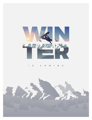 Winter is coming. Snowboarding season themed winter flyer poster vector illustration