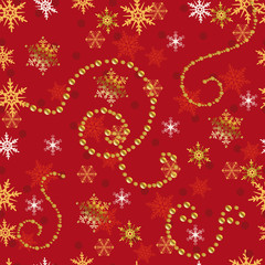 Christmas red seamless pattern with golden snowflakes.