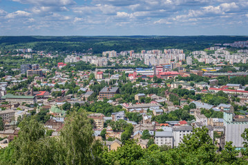 Lviv city seen from mound on High Castle Hill, Ukraine