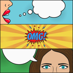 Design of comic book page. Dialog of two girls with speech bubble with emotions - OMG! Lips and face with eyes of woman. Cartoon sketch in pop art style. Vector illustration.