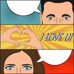 Love story of woman and man. Design of comic book page with blank speech bubbles for text and hand gesture - heart. Female and male face with eyes. Cartoon sketch in pop art style. Vector illustration