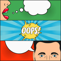 Design of comic book page. Dialogue of girl and man with speech bubble with emotions - OOPS! Woman's lips and male face with eyes. Cartoon sketch in pop art style. Vector illustration.