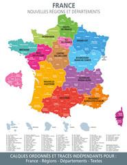 Carte de France, nouvelles régions et départements-1