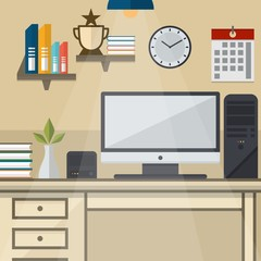 workspace with a computer device Vector Illustration