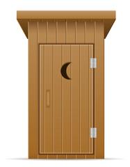 wooden outdoor toilet vector illustration