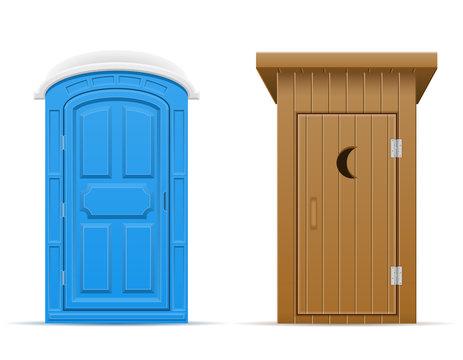 bio and wooden outdoor toilet vector illustration