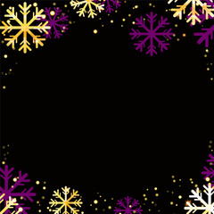 Vector winter background with golden snowflakes on black background.