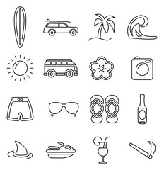 Surfing Sport & Surfing Lifestyle Icons Thin Line Vector Illustration Set