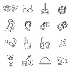 Strip Club Icons Thin Line Vector Illustration Set