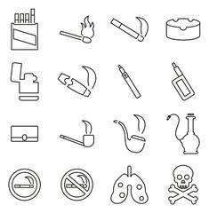 Smoking or Cigarette Addiction Thin Line Vector Illustration Set