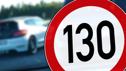 wb19 WarnBanner - german: Tempolimit 130 km/h auf der Autobahn - english: road sign - interstate highway speed limit - 16zu9 g5636