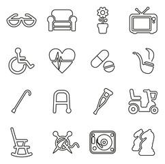 Senior People Icons Thin Line Vector Illustration Set
