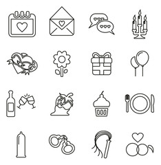Romantic or Courting Icons Thin Line Vector Illustration Set