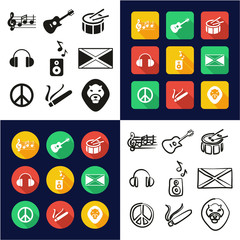 Reggae All in One Icons Black & White Color Flat Design Freehand Set