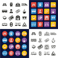 Railroad All in One Icons Black & White Color Flat Design Freehand Set