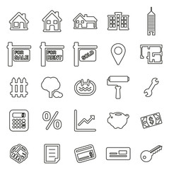 Real Estate Market or Real Estate Broker Icons Thin Line Vector Illustration Set