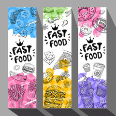 Fastfood colorful modern banners set.