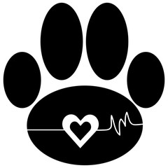 Dog paw with heart.