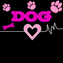 Color dog background  with heart and text