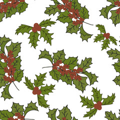 Merry Christmas/ Happy New Year design in traditional style. Holly or Mistletoe minimal design. Christmas seamless pattern isolated on white background. Mistletoe flat traditional style.