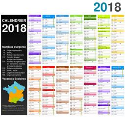 Calendrier 2018 pour entreprise sur 14 mois