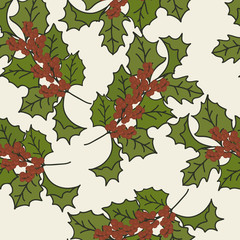 Merry Christmas and Happy New Year design in traditional style. Holly or Mistletoe minimal design. Christmas seamless pattern in vintage style. Mistletoe vector pattern isolated on beige background.