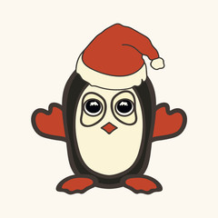 Penguin in Christmas hat. Vector image of a New Year's Penguin in Santa Claus's clothes. Merry Christmas and Happy New Year design in traditional style, greeting card. Cute character for children.