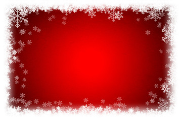 Simple Christmas red background with snowflake.