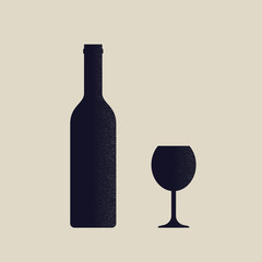 Silhouette of bottle of wine and glass.