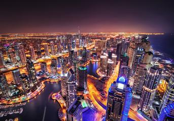 Dubai marina skyline during night. Dubai marina, United Arab Emirates.