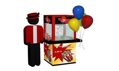 Popcornmaschine mit frischem Popcorn und Luftballons und Verkäufer auf weiß isoliert