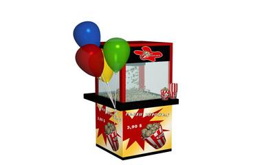 Popcornmaschine mit frischem Popcorn und Luftballons