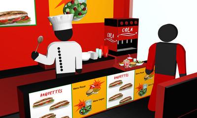Fast Food Imbiss von innen, mit Koch, Kunde und Menü