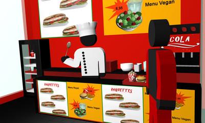 Fast Food Imbiss von innen, mit Koch