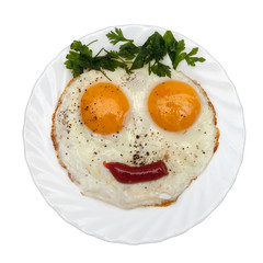 Breakfast for kids. Kids funny meal on white plate.