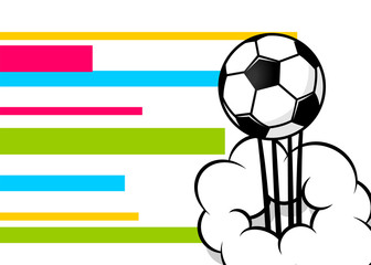Pop art football ball poster. Comic text background. Cartoon drawn memphis style backdrop. Soccer bubble power balloon cloud. Sport pop-art wow space design. Vector bright colored illustration.