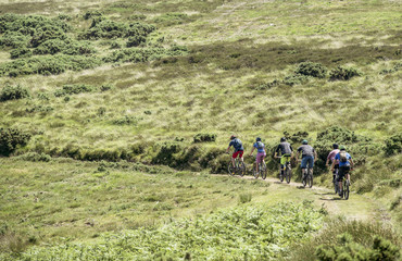 Friends mountain biking in Porlock Weir, England