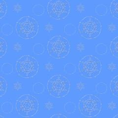 синий орнамент со снежинками, векторная иллюстрация