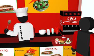 Fast Food Imbiss von innen, mit Figuren in Nahaufnahme