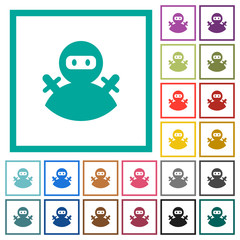 Ninja avatar flat color icons with quadrant frames