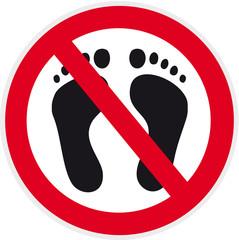 verbotsschild mit Piktogramm Füße ohne Schuhe