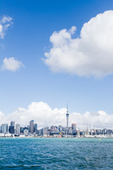 view of Auckland CBD, city center, with sky tower from under the bridge, new zealand