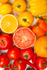 Many different fruits and vegetables on light background, closeup