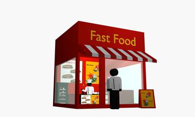 Fast Food Imbiss mit Figur am Eingang und Koch im Inneren.