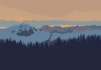 High mountains landscape at sunset. Flat vector illustration