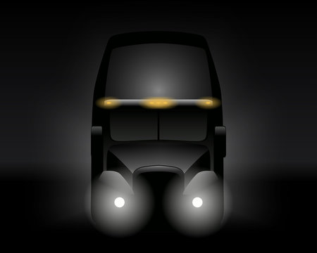 Semi truck front view dark silhouette. Vector illustration.