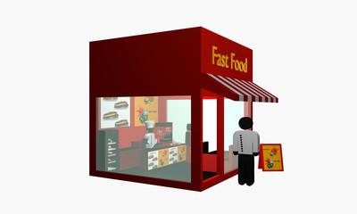 Fast Food Imbiss mit Figur am Eingang und Koch im Inneren. Aus Seitenansicht